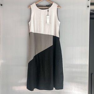 For Cynthia Colorblock Midi Linen Dress NWT L